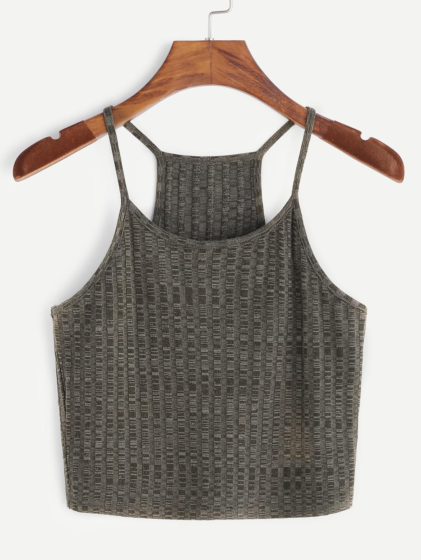 Olive Green Ribbed Knit Racerback Cami Top vest170106701