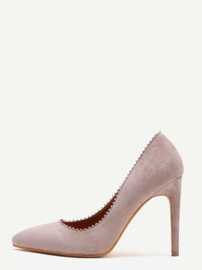 Apricot Suede Serrated Edge Point Toe Heeled Pumps