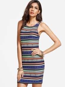 Multicolor Tribal Print Tank Dress