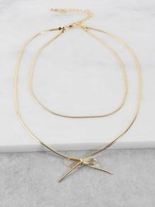 Metallic Bow Choker Necklace GOLD