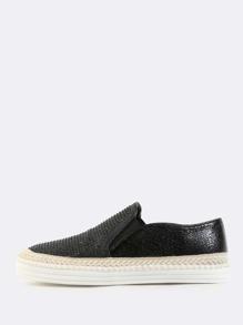 Round Toe Rhinestone Slip On Sneakers BLACK