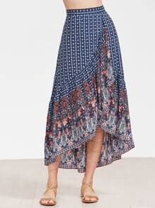 Ornate Print High Low Swing Skirt