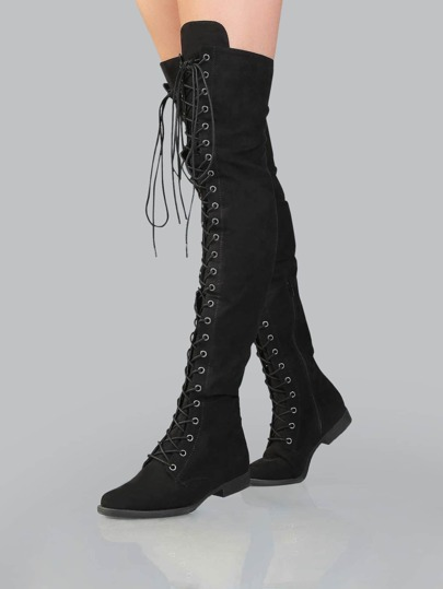 Lace Up Flat Suede Boots BLACK