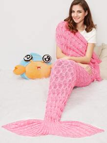 Pink Textured Mermaid Tail Blanket