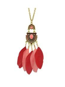 Collier pendentif long plume couleur rouge