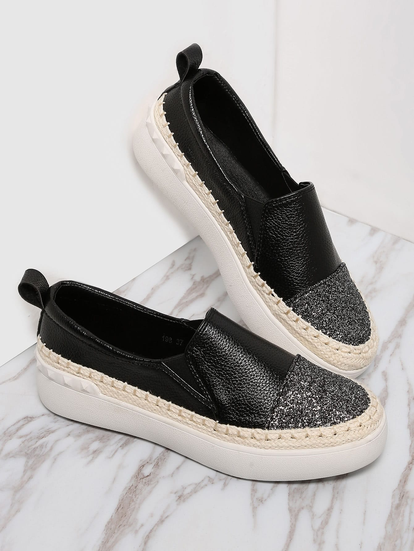 Black PU Slip On Cap Toe Espadrille FlatsBlack PU Slip On Cap Toe Espadrille Flats<br><br>color: Black<br>size: EUR36,EUR37