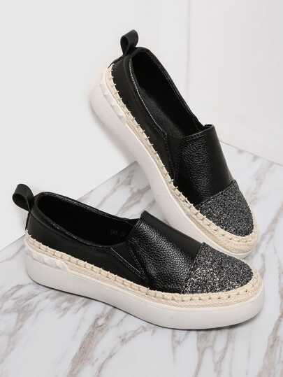 Black PU Slip On Cap Toe Espadrille Flats