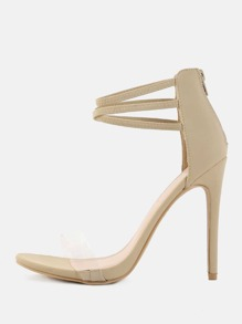 Open Toe Transparent Strap Stilettos NUDE