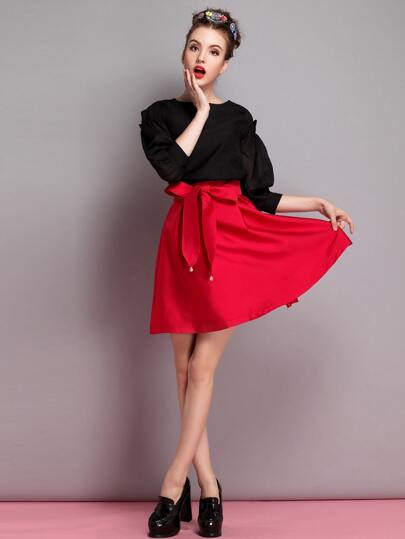 Red Bow Tie Front Flare Skirt