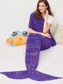 Purple Marled Knit Mermaid Tail Blanket