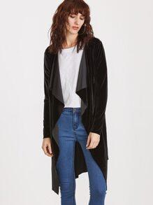 Black Waterfall Collar Velvet Wrap Coat