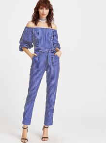 Striped Bishop Sleeve Jumpsuit