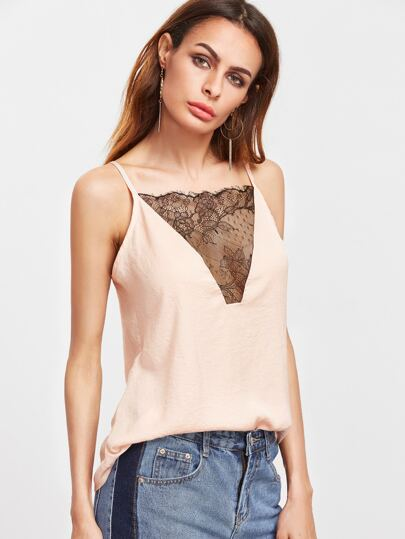 Apricot Lace Patchwork Hollow Back Cami Top
