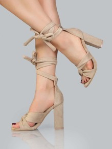 Faux Suede Lace Up Chunky Heels NUDE