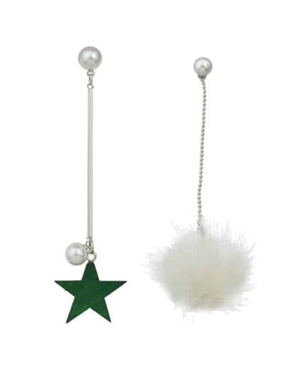 White Color Fake Fur Ball Star Shap Long Earrings