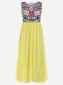 Yellow Geometric Print Sleeveless Dress