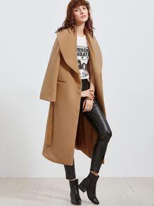 Khaki Oversized Shawl Collar Wrap Coat