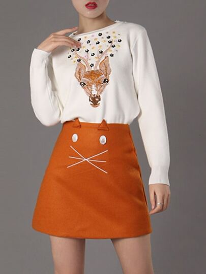 White Deer Embroidered Sweater