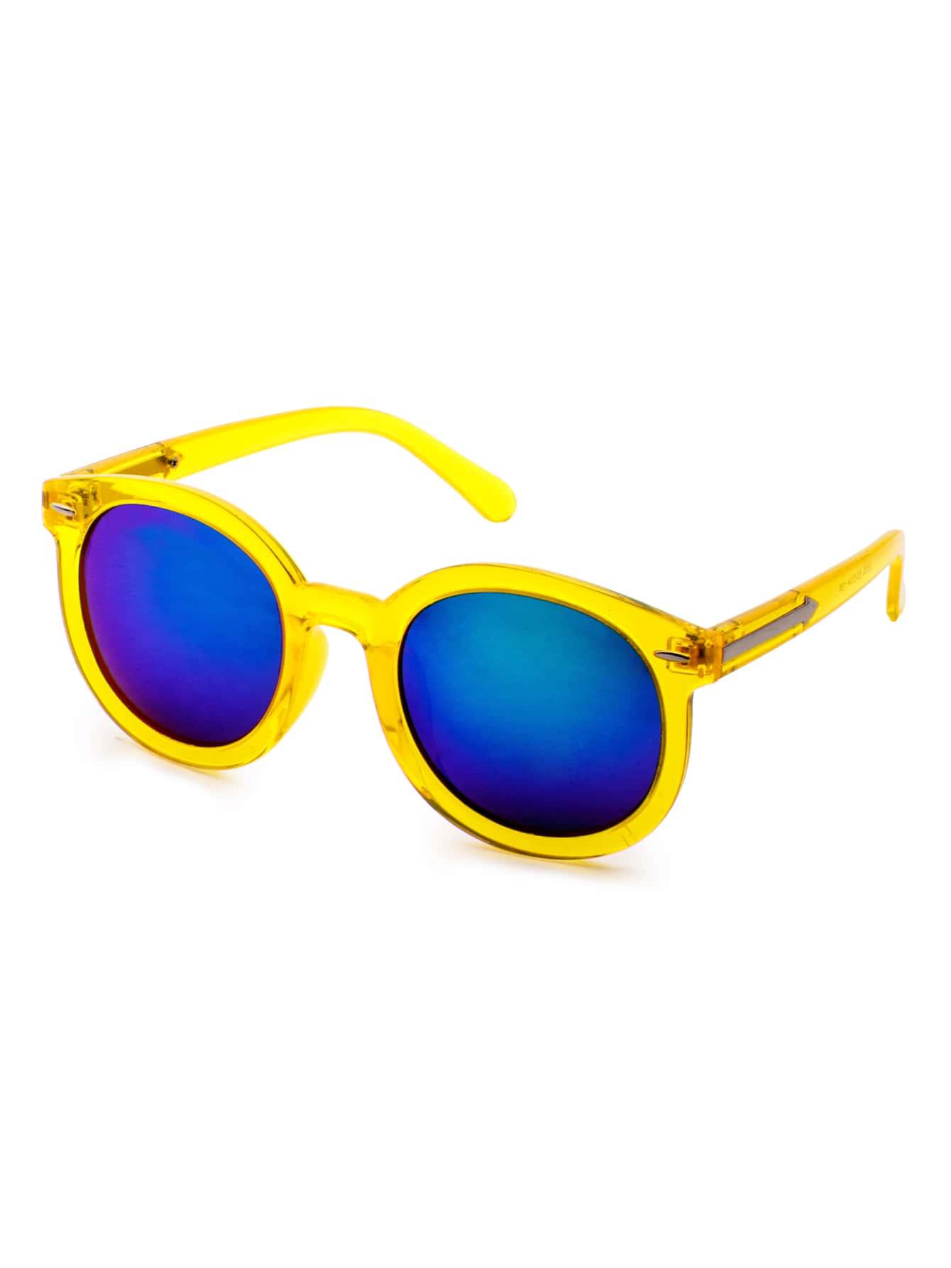 Yellow Frame Blue Lens Casual Sunglasses