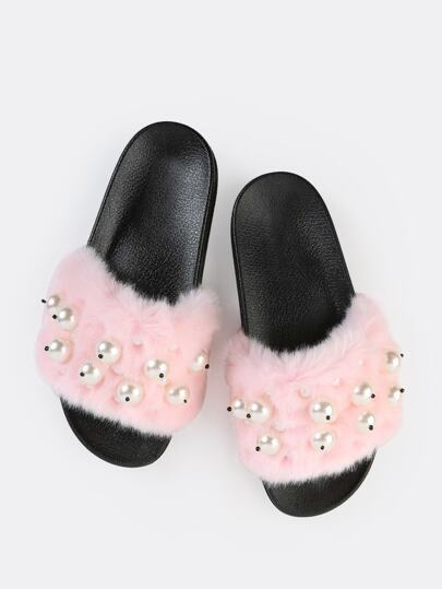 Slip On Faux Pearl Slide Sandals PINK