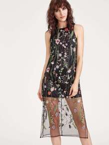 Black Embroidered Mesh Overlay Sleeveless Dress