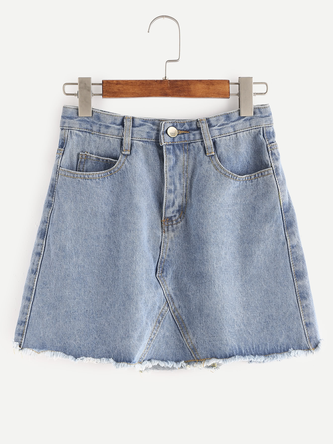 Light Wash Raw Hem Denim Skirt