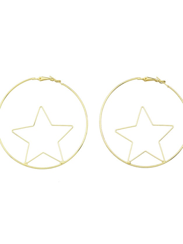 Image of Fashion Gold Color Star Shape Big Hoop Earrings