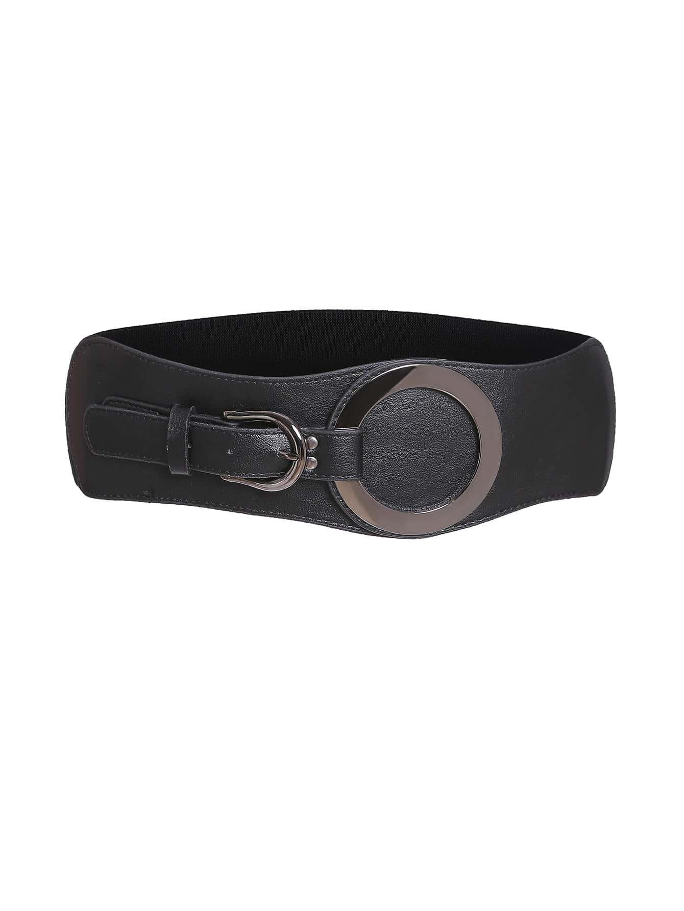 Black Ring Detail Faux Leather Waist Belt
