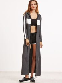 Heather Grey Contrast Panel Zip Up Maxi Jacket