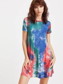 Multicolore Tie Dye Imprimer manches courtes Tee Robe
