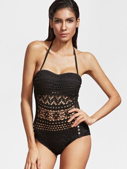 Black Hollow Out Halter One-Piece Swimwear