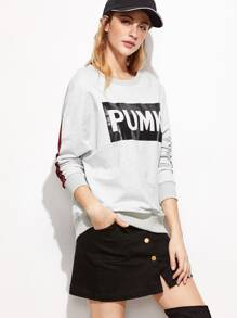 Heather Grey Letter Print Striped Sleeve Sweatshirt