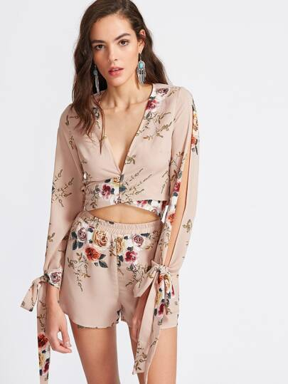 Apricot Floral Print Bow Tie Blouse With Shorts