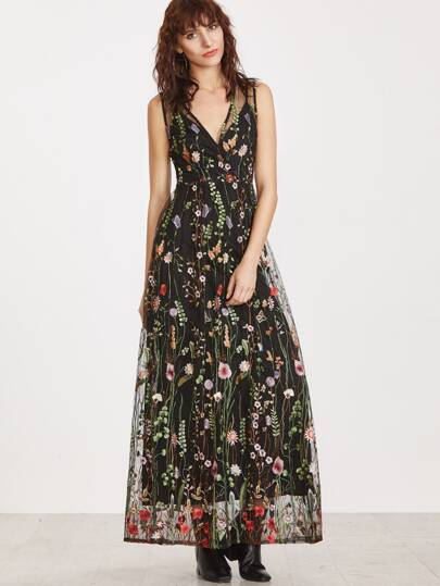 Black Surplice Front Embroidered Mesh Overlay Maxi Dress