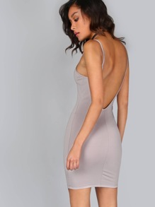 Low Scoop Back Basic Bodycon Dress GREY