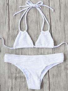 White Halter Tie Back Bikini Set