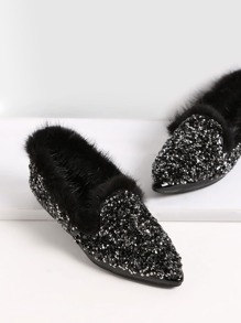 Black Sequin Point Toe Faux Fur Lined Flats