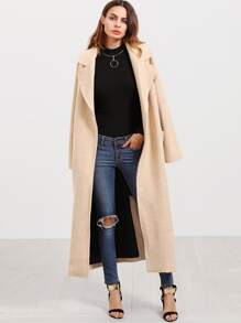 Apricot Notch Collar Pocket Front Long Coat