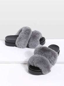 Chaussons plates en cuir de lapin bout ouvert - gris