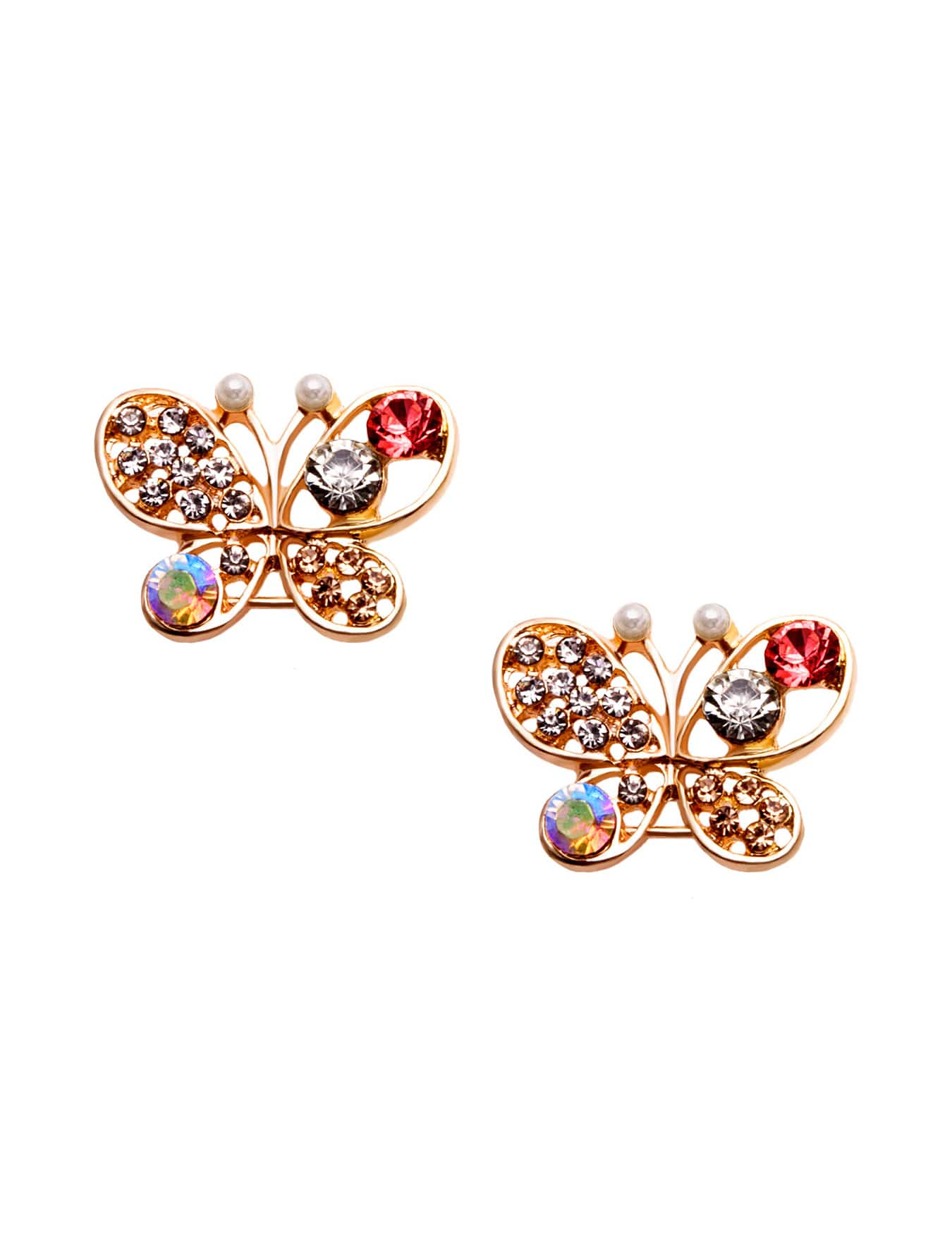 Gold Rhinestone Encrusted Cutout Butterfly Ear StudsGold Rhinestone Encrusted Cutout Butterfly Ear Studs<br><br>color: Colorful<br>size: None