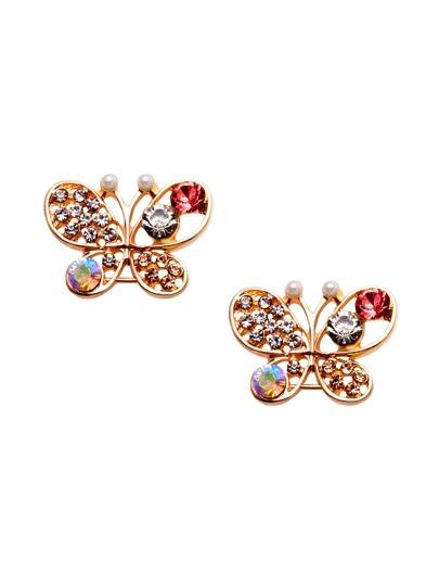 Gold Rhinestone Encrusted Cutout Butterfly Ear Studs