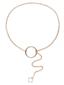Gold Hoop Charm Retro Style Link Necklace