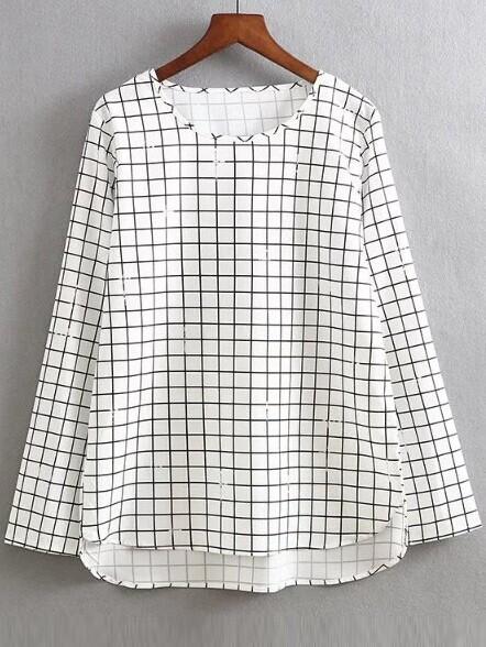 Фото White Grid Print Dip Hem Blouse. Купить с доставкой