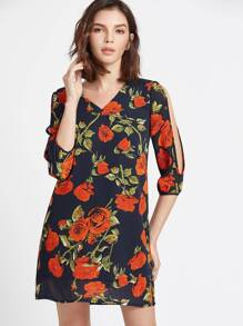 3/4 robe à manches longues avec ouverture de rose et imprimé - Navy
