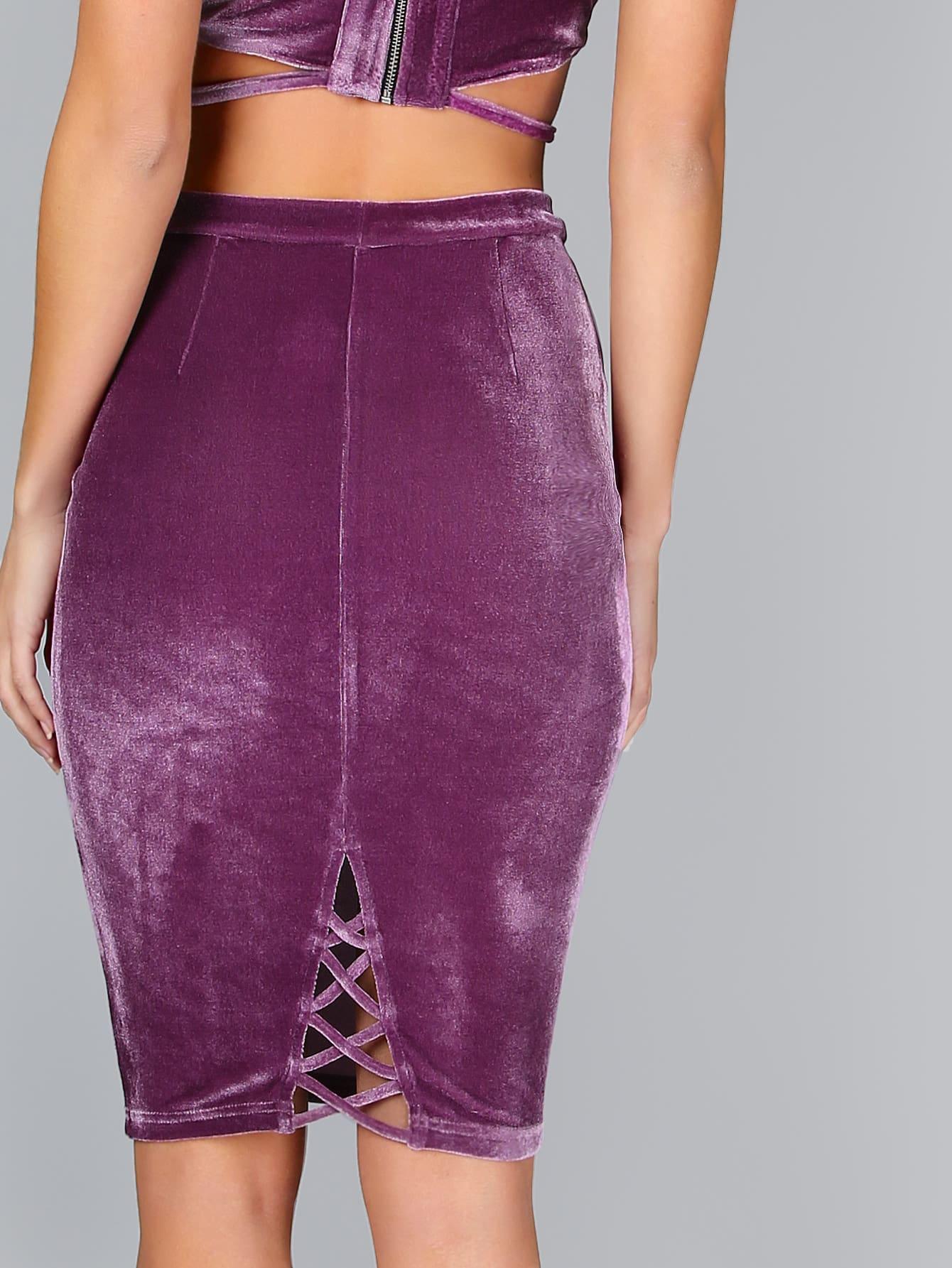 Фото Purple Crisscross Back Velvet Pencil Skirt. Купить с доставкой