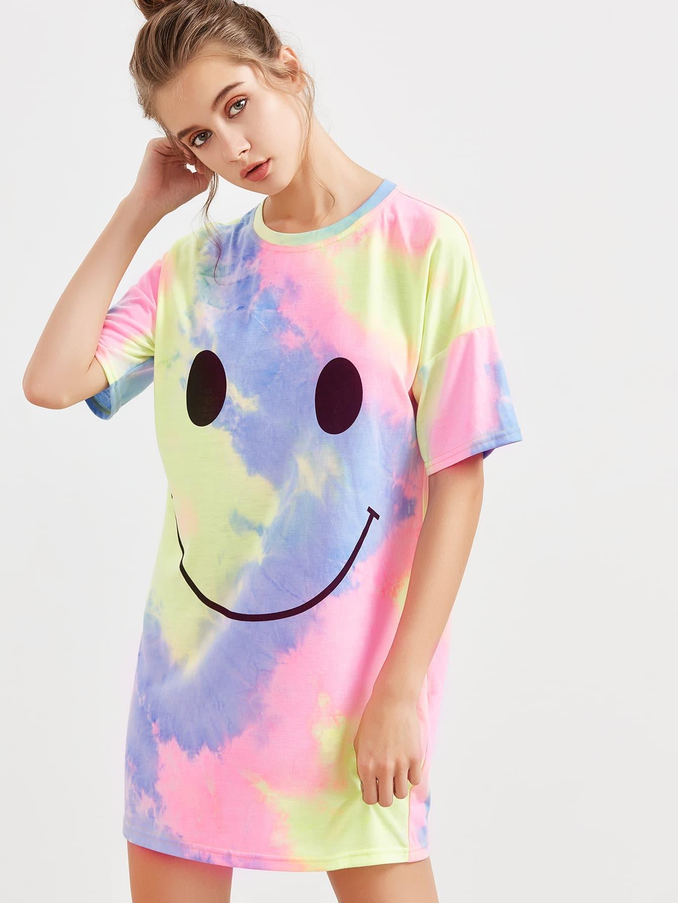 Фото Pastel Tie Dye Print Tee Dress. Купить с доставкой