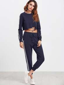 Navy Side Striped Crop Sweatshirt With Drawstring Pants