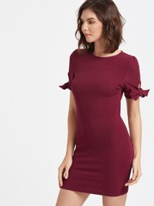 Burgundy Bow Tie Sleeve Bodycon Dress