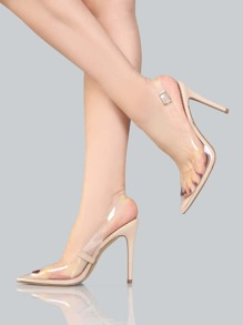 Transparent Slingback Pumps NUDE