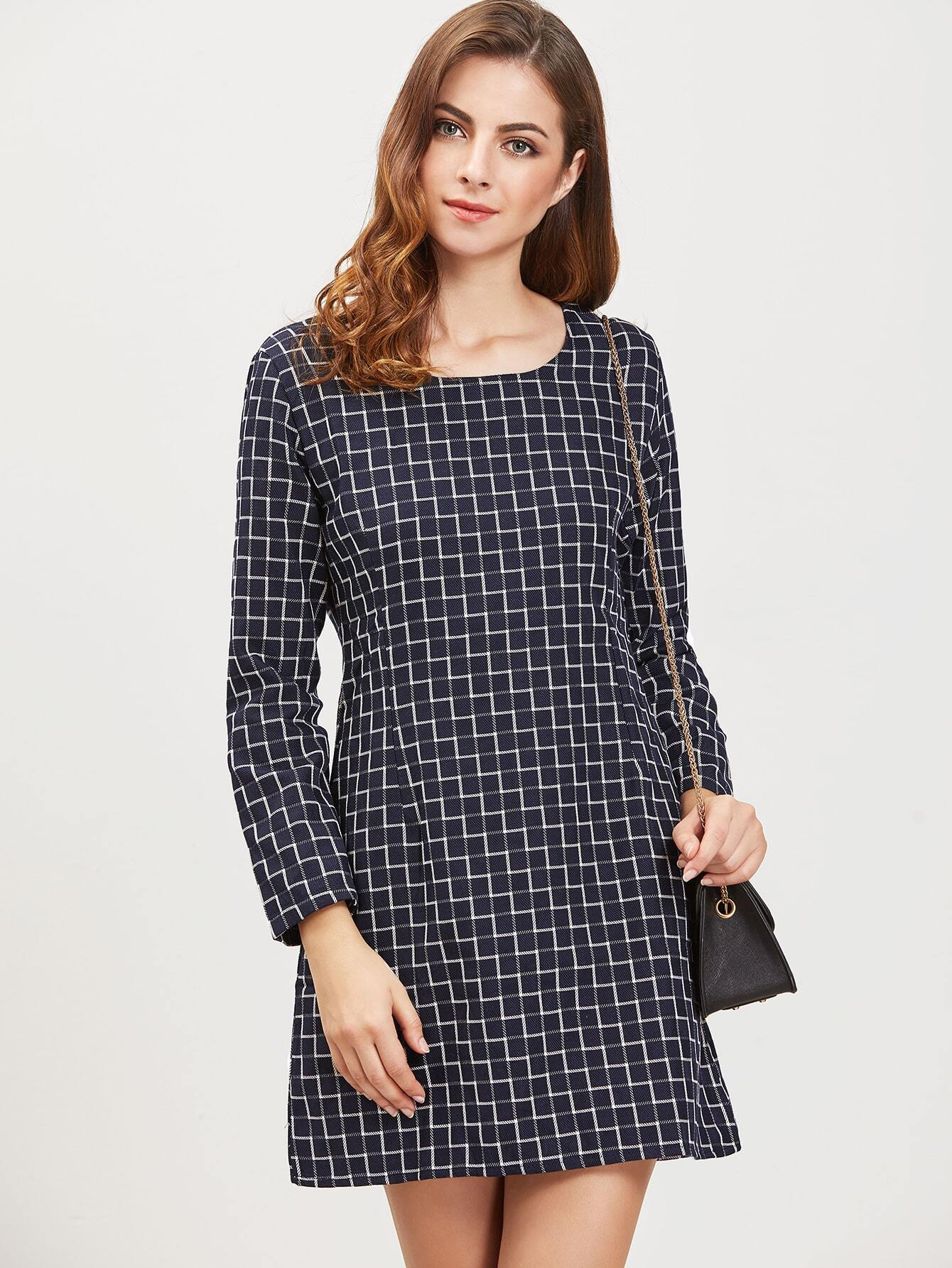 Navy Grid Zipper Back Long Sleeve DressNavy Grid Zipper Back Long Sleeve Dress<br><br>color: Navy<br>size: L,M,S,XL